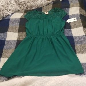Green lace shoulder dress